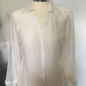 066a6d8a833a3 Rafaella Blouse White Color Lyocell Nylon Size 12